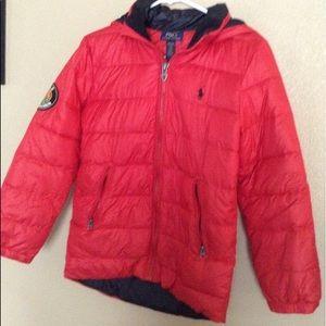 Ralph Lauren Red Down Puffer Jacket 10/12 Like New